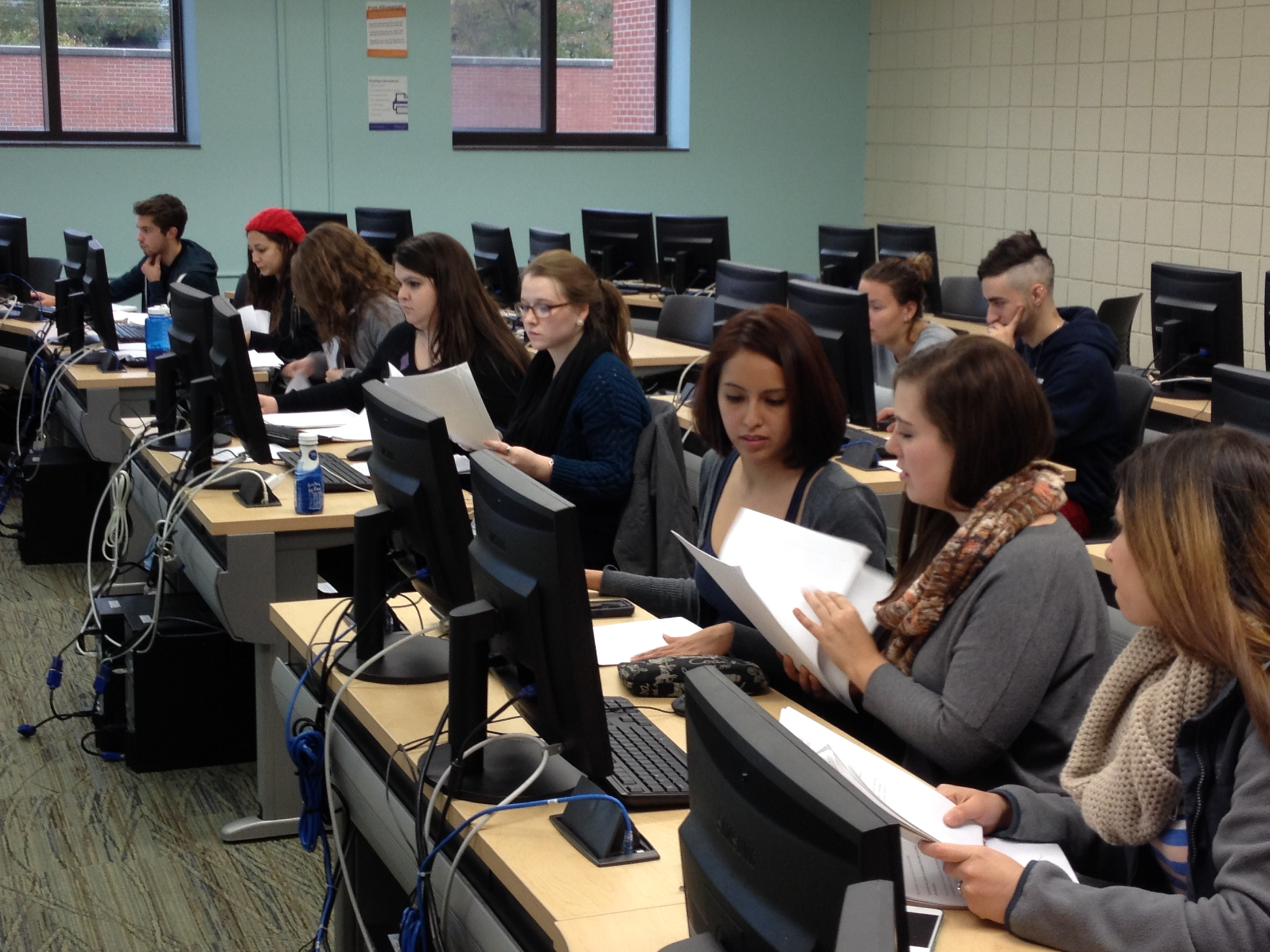 Students hard at work doing data analysis